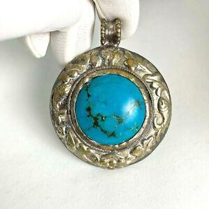 Turquoise Tibetan Pendant Round Silver Rustic Boho Hobo Chic