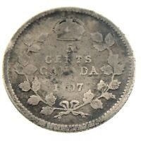1907 Canada 5 Cents Small Silver Circulated Edward VII Five Cents Coin P426