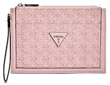 NWT GUESS BRAELYNN WRISTLET BAG Pink Logo Pouch Handbag Wallet GENUINE
