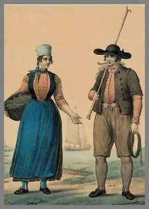 SCHOKLAND (NL) - Fischer dekorative kolorierte Original-Lithographie 1828!