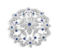 Shiny Diamante Brooch Hair Pin Br337 White & Royal Blue Flower Wedding Bouquet