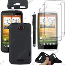Housse Etui Coque Souple Silicone Gel Noir HTC One X +Stylet 3 Film
