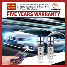 2x H1 12SMD 5050 RGB LED Car Headlight Fog Light Lamp + Remote 24-key Controller
