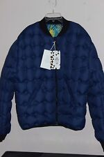 WOMEN'S WINTER SKI JACKET COAT H&M DOWN PUFFY REVERSIBLE US LARGE BLUE MULTI NWT