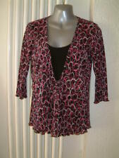 Ladies Top Size 14   black/red/white 3/4 Sleeves tie front