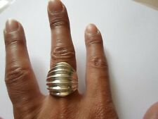 bague en argent massif, gros dôme plissé, t. 57/58