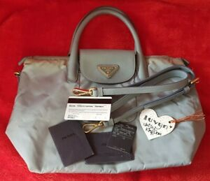 Prada Tessuto+Saffiano 2-Way bag Pervinca (light blue)