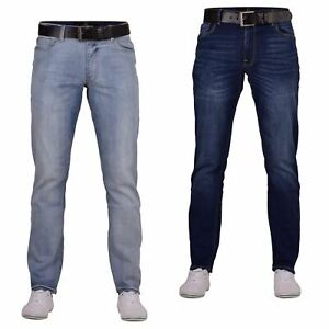 Mens Crosshatch Cotton Stretch Straight Fit Denim Jeans with Free Belt