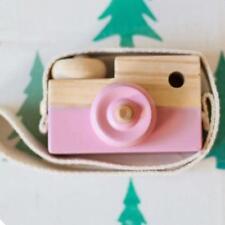 Kids Cute Wood Camera Toy Children Room Decor Natural Safe Wooden Camera Pink B▁