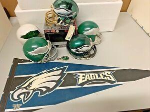 1960-00 Philadelphia Eagles NFL Riddell 3 5/8 Mini Helmet Lot (7) Chrome Auto