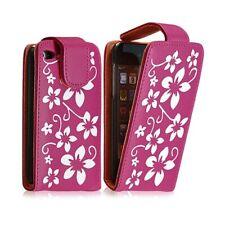 Housse coque étui pour Apple Ipod 4G couleur rose fushia avec motifs fleurs + fi