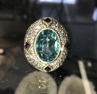 "Heidi Daus"" Beyond Bold""  Ring Beautiful Green Purple Sparkly"
