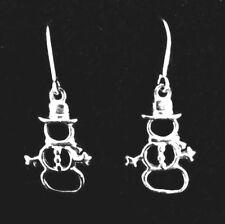 New .925 Sterling Silver Snowman Earrings Christmas Snowman Pierced Earrings