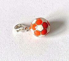 Genuine THOMAS SABO Sterling Silver & Enamel Orange & White Football Charm