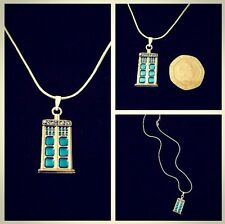 "MINI TARDIS COLLANA 16 ""Catena DR WHO ciondolo POLICE BOX Phone Charm SONIC * UK *"