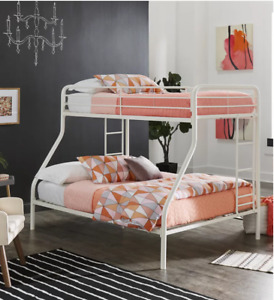 White Metal Twin over Full Bunk Bed with Double Ladder