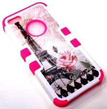 for iPhone 5 5S SE Eiffel Tower Paris Rose Flower Hot Pink Rubber Hybrid Case