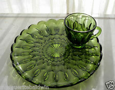 Anchor Hocking Glass Green Fairfield Snack Luncheon Plate & Cup Set