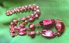 """Art Glass Necklace 30"""" Long Beautiful Vintage Art Deco Cranberry Bi-Colour"""