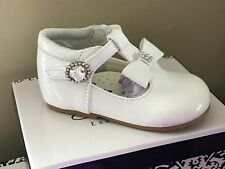 BABY GIRLS SPARKLY PATENT BOW SHOES WHITE PINK SPANISH T BAR INFANT UK 2-6