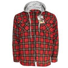 Mens Padded Lumberjack Quilted Shirt Flannel Work Wear Hoodie Zip Button Jacket