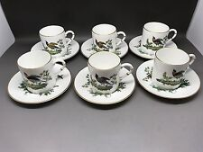Set Of 6 Royal Worcester Bird Of Paradise Coffee Cups And Saucers