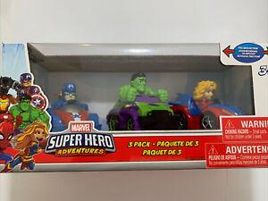 Marvel Super Hero Adventures 3 Pack Vehicles Hulk Captain America & Capt Marvel