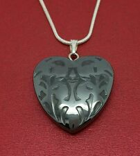 Heart Necklace Hematite Pendant and silver plated Chain love for lovers