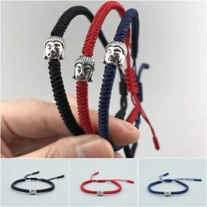 Handmade Tibetan Rope Knot Lucky Bracelet Buddhism Buddha Bangle Red Blue Black