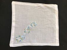 Vintage White With Embroidery Blue Floral Wreaths Ladies' Hankie/Handkerchief