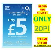 NEW O2 02 Sim Card £5 BIG BUNDLE UNLIMITED MINS & TEXTS TRIPLE Cut 20p OFFER!