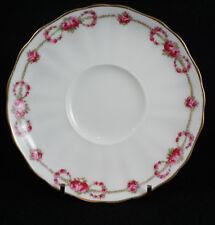Cauldon England China Stoke on Trent Pink Rose Garland Saucer Gold Rim