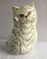 2001 Cat By Nina Lyman Ceramic Cat Vase White Striped Cat For Cat Lovers