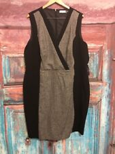 Calvin Klein 22W Sheath Dress Gray/Black Career Plus Size Zipper Sleeveless Cl13