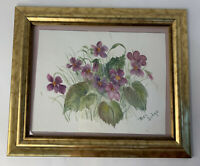 "Original Watercolor Painting African Violets Floral Signed 11""x 8"" Gold Framed"