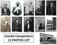 Abraham Lincoln Assassination 11 PHOTOS Lot, Conspirators in Murder Kidnapping
