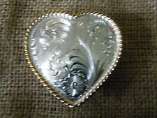 Montana Silversmith BELT BUCKLE Heart silver plated gold tone roping
