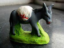 Santon en terre cuite peint Fouque - Ane meunier avec sacs farine 6 cm