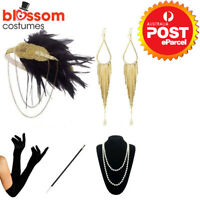 K885 1920's Flapper Charleston Costume Accessory Set 20s Gatsby Headband Gloves