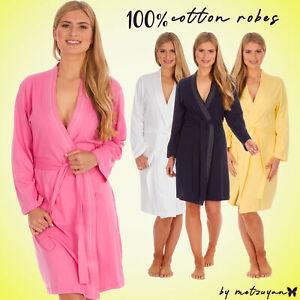 Ladies 100% Cotton Lightweight Dressing Gown Holiday Womens Robe Kimono Wrap UK