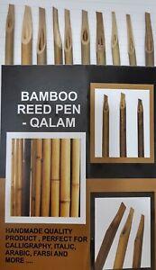 10 x Handmade Bamboo Reed Qalam Calligraphy Pens For Arabic, Urdu, Farsi+ Ink
