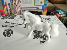 small cute simulation white horse toy resin&fur unicorn doll gift about 13x11cm