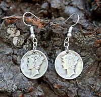 Mercury Dime 90% Silver Earrings with Silver Plated Ear hooks