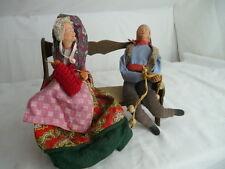 authentique**couple  de SANTONS  de Provence anciens en terre cuite