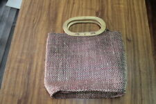 Vintage Ladies Wood / Wicker Hand Bag Red Brown / Beige