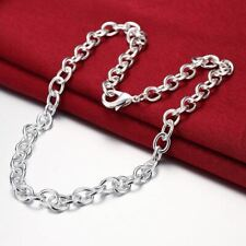 *UK Shop* 925 SILVER PLT THICK OVAL CHUNKY LINK CHAIN NECKLACE MENS WOMENS GIFT