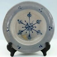 Rowe Pottery Works Snowflake Plate Christmas Handmade Hand Painted Cambridge WI