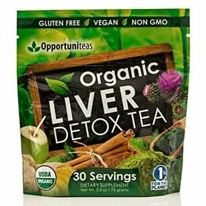 Organic Liver Detox Tea - Matcha Green Tea, Milk Thistle, Coconut Water, Spiruli