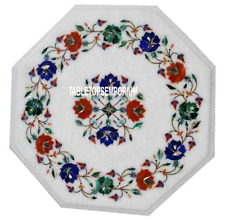 """15"""" White Marble Coffee Table Top Inlay Handicraft Floral Bedroom Decor Gift"""