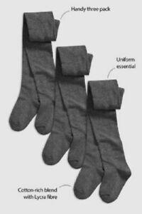 Pack Of 3 Girls Tights Uniform Cotton rich School Tights, Black Navy Grey